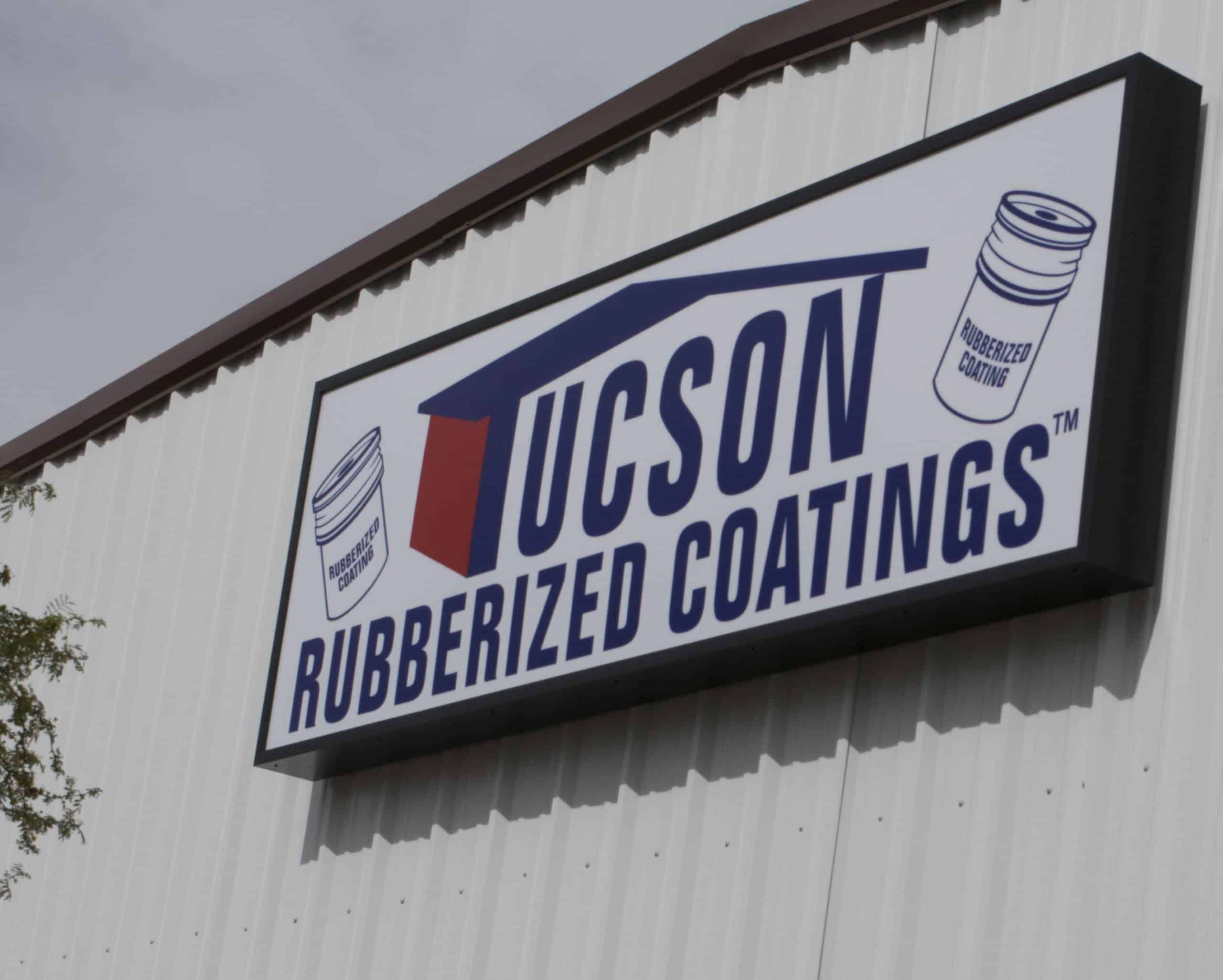 Tucson Rubberized Coatings Sign -- aluminum roof coatings -- driveway sealed -- cool roofs